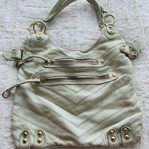Linea Pelle Genuine White Leather Shoulder Bag